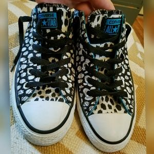 ac178a7bc8a9c6 Converse Shoes - Converse Black   White Cheetah Spots Sneakers 8